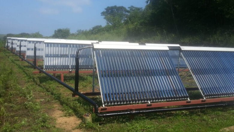 Солнечные водонагреватели в поселке Рында на острове Русский
