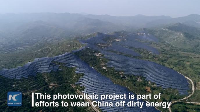 Захватывающие видео с солнечными панелями на горе Тайхан в Китае