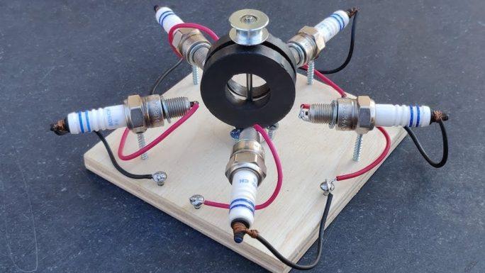 Удивительный генератор свободной энергии на базе свечей зажигания (Видео)